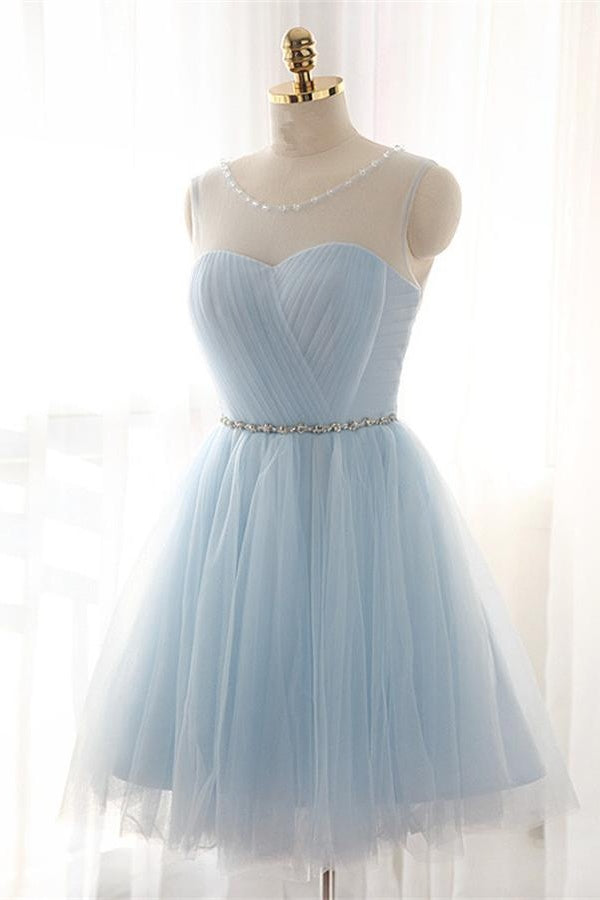 Elegant Light Blue Lace Up A-line Tulle Homecoming Dresses Z0033 - Bohogown