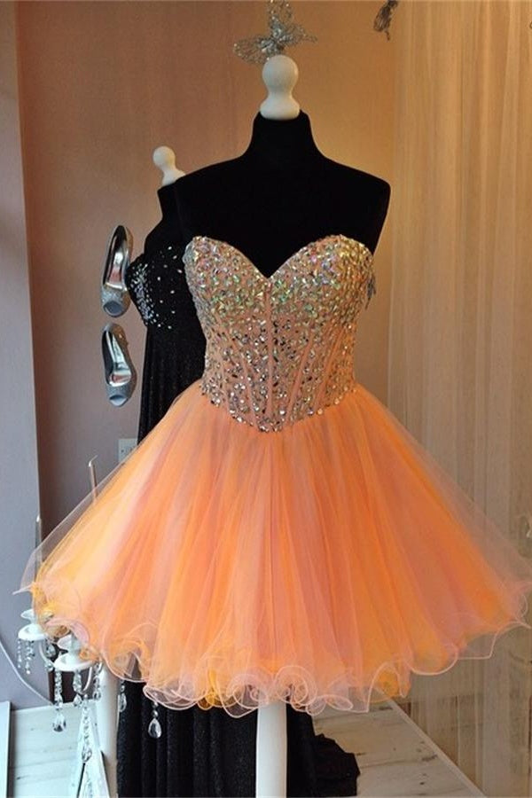 Orange Sweetheart Beaded Tulle A-line Homecoming Dresses Z0034