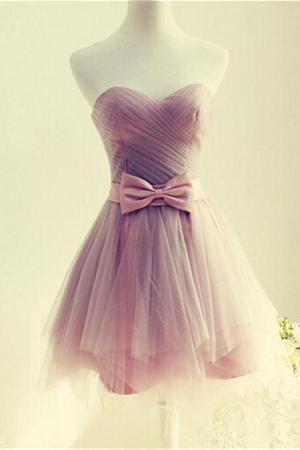 Pink Strapless Cute Lace Up Cheap Homecoming Dresses With Bow Belt Z0035