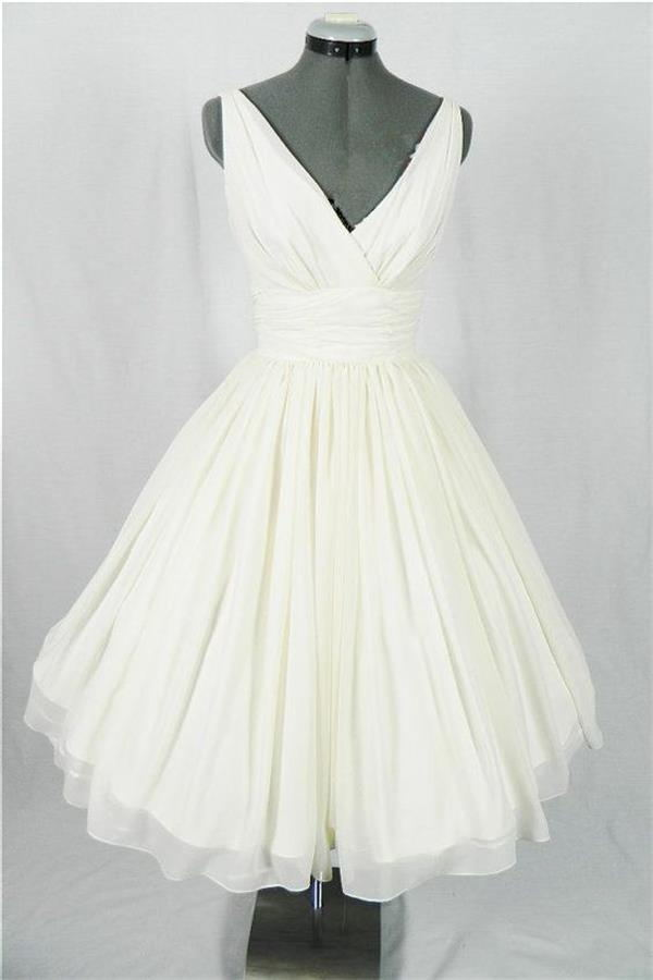 Ivory Chiffon V-neck Cheap Homecoming Dresses,Wedding Dresses Z0039 - Bohogown