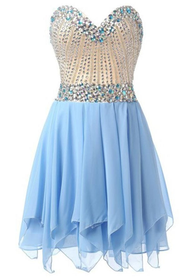 Light Blue Cute Sweetheart Short A-line Chiffon Beaded Homecoming Dresses Z0041
