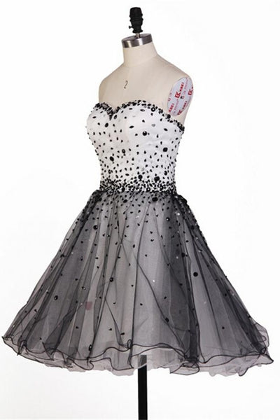 White And Black Beaded Sweetheart Lace Up Short Homecoming Dresses,Homecoming Dress Z0042