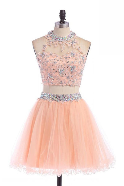 Two Pieces Lace Beaded Pink Modest Homecoming Dresses Z0045