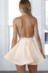 Halter Modest Cute A-line Backless Homecoming Dresses Z0048
