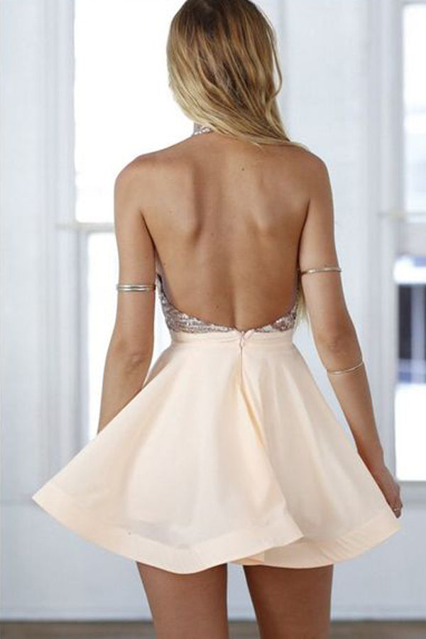 Halter Modest Cute A-line Backless Homecoming Dresses Z0048 - Bohogown
