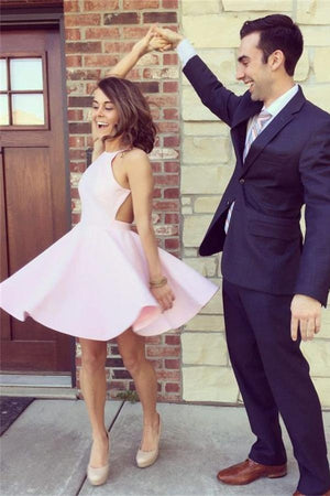 Simple Cheap Short A-line Open Back Pink Satin Homecoming Dresses Z0049