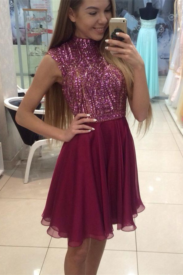 Sparkly High Neckline Short A-line Homecoming Dresses For Teens Z0050