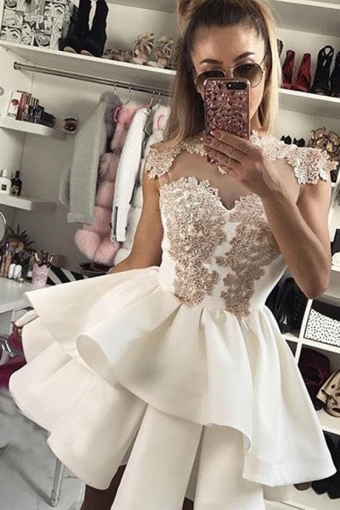 Lace Short Ivory A-line Simple Cheap Modest Homecoming Dresses,Homecoming Dress,Z0051