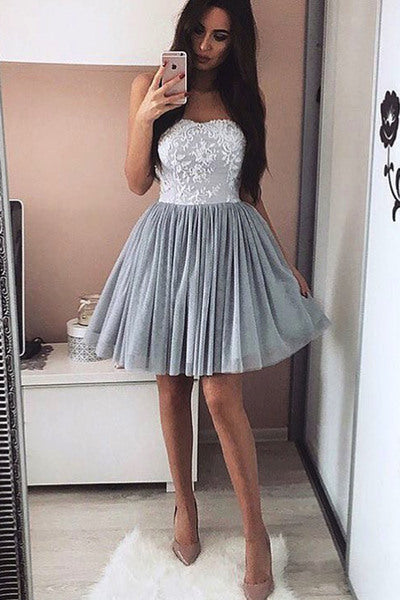 Modest Lace Strapless Short A-line Elegant Homecoming Dresses For Teens Z0054 - Bohogown