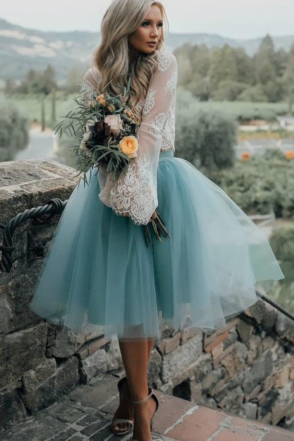 Princess Long Sleeves Two Pieces Elegant Homecoming Dresses Z0056