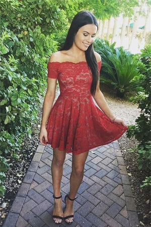 Red Short Lace A-line Homecoming Dresses,Simple Cheap Cute Homecoming Dress Z0058