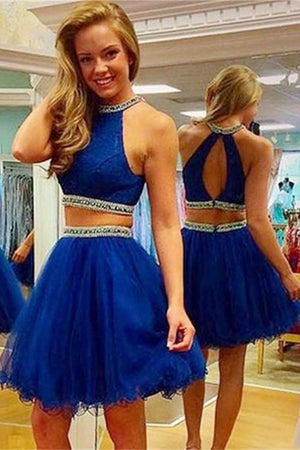 Modest Royal Blue Two Pieces Beaded Tulle Homecoming Dresses Z0059