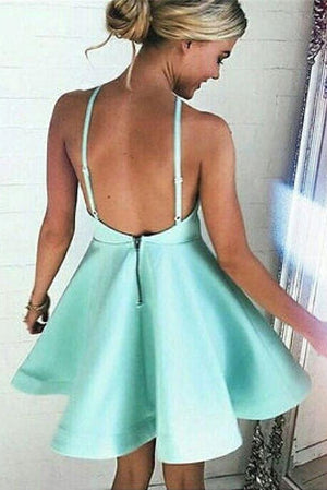 Simple Cheap Cute Satin Open Back Mint Short Homecoming Dresses Z0060