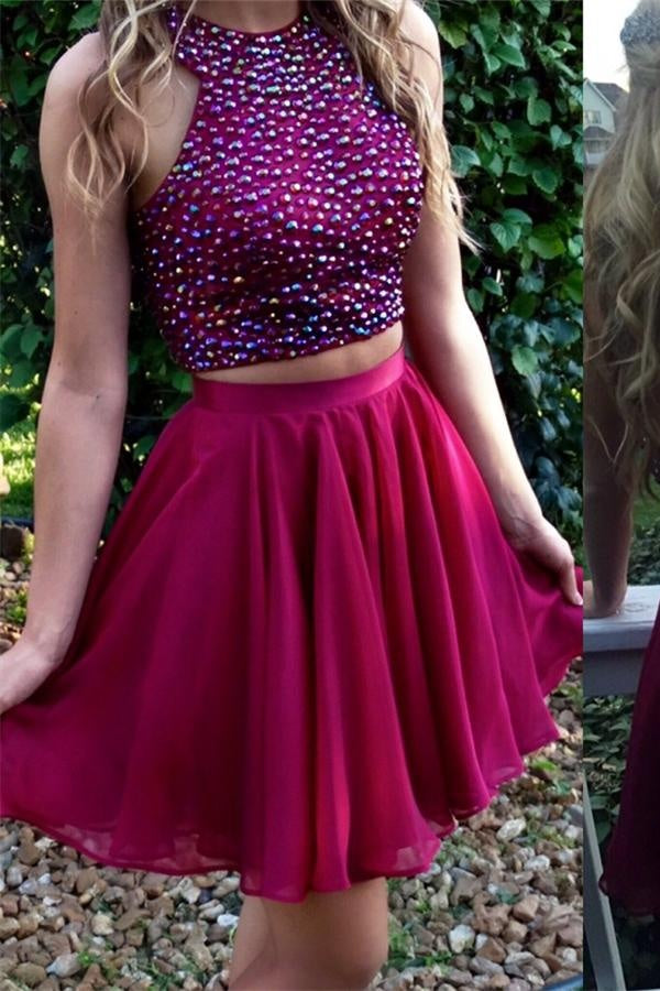 Sparkly Two Pieces Beaded Short Chiffon Homecoming Dresses,Fashion Dresses Z0064
