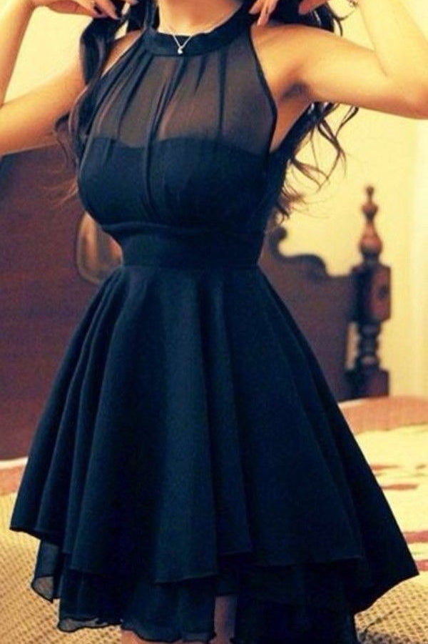 Simple Elegant Black Chiffon Short A-line Homecoming Dresses Z0069