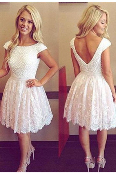 Cap Sleeves Lace Beaded Open Back Short A-line Homecoming Dresses Z0071