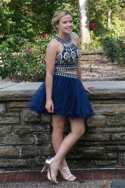 Princess Two Pieces Beaded Short Blue Tulle Homecoming Dresses Z0072