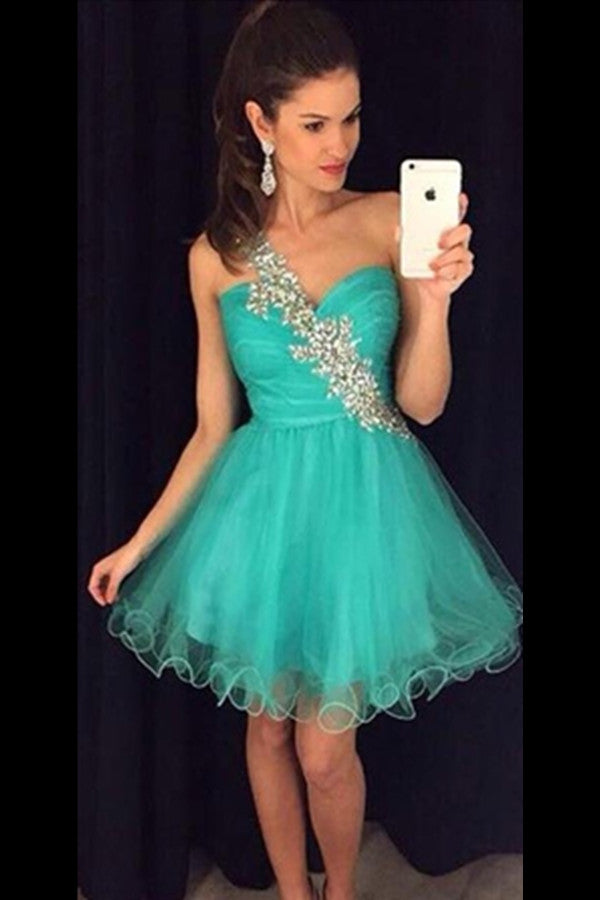 Formal One Shoulder Beaded Tulle Green Homecoming Dresses For Teens Z0074 - Bohogown