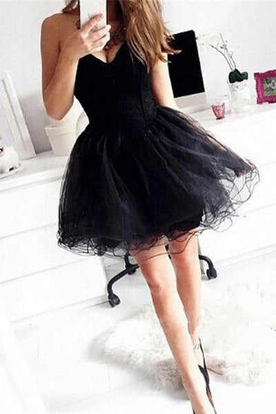 Modest Princess Black Tulle Strapless Cheap Simple Homecoming Dresses Z0075