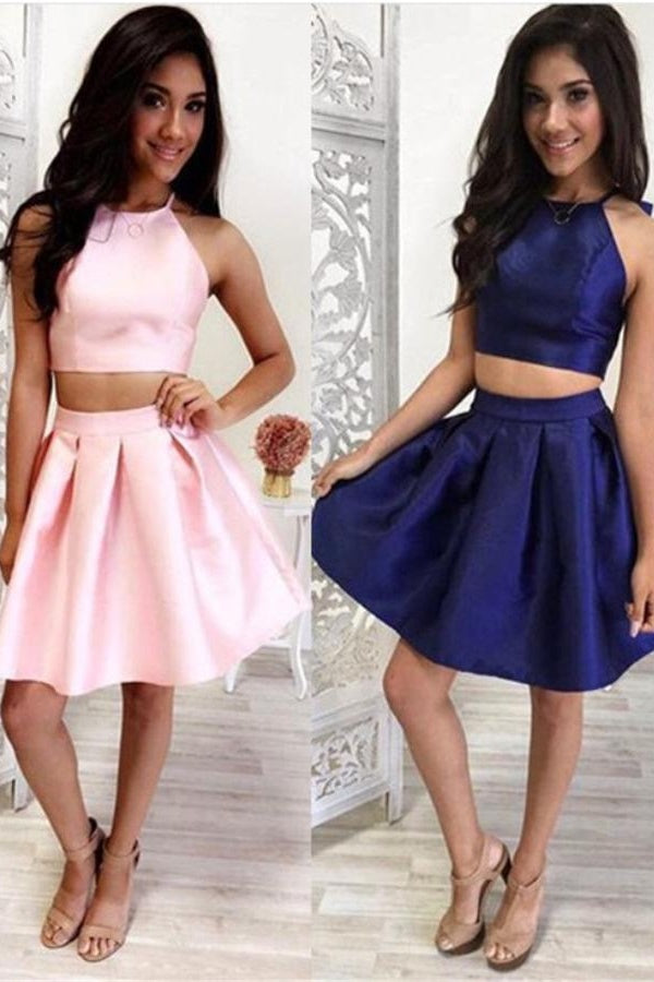 Two Pieces Satin A-line Royal Blue Homecoming Dresses,Cheap Homecoming Dresses Z0079