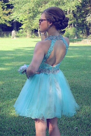Pretty Light Blue Lace Beaded Tulle Short Backless Homecoming Dresses Z0081