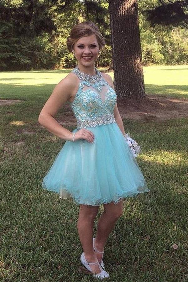 Pretty Light Blue Lace Beaded Tulle Short Backless Homecoming Dresses Z0081 - Bohogown