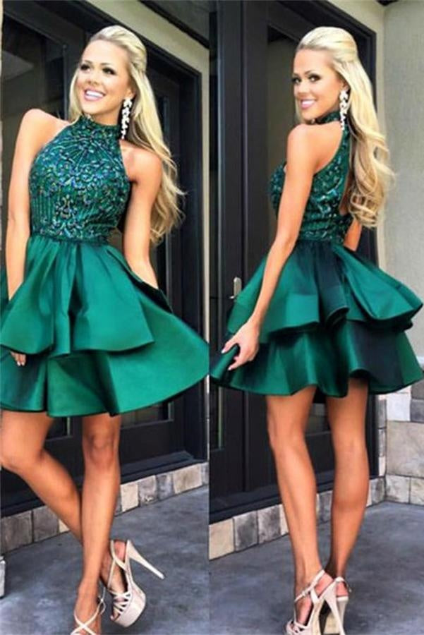 Modest Green Beaded Satin Homecoming Dresses,Short A-line Homecoming Dress Z0084 - Bohogown