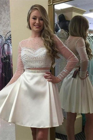 Ivory Homecoming Dresses,Long Sleeves Beaded Short Two Pieces Homecoming Dresses Z0086