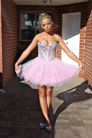 Modest Pink Sweetheart Tulle Beaded Short Cheap Homecoming Dresses Z0087
