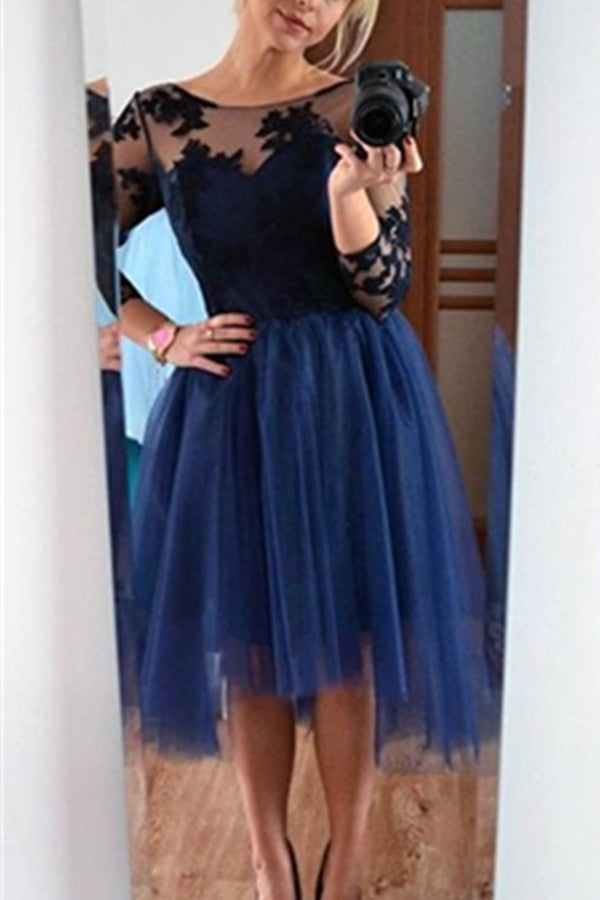 Elegant Navy Blue Short Lace Tulle Simple Cheap Homecoming Dresses With Sleeves Z0088