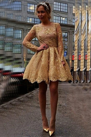 Long Sleeves Gold Lace Short A-line Homecoming Dresses For Teens Z0090