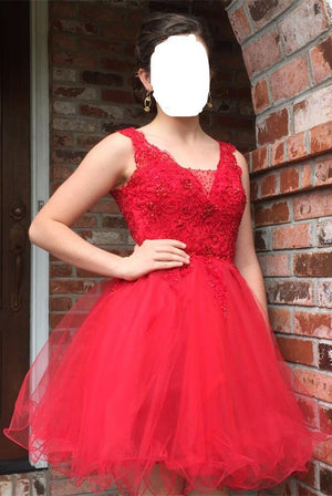 Sparkly Red Lace Beaded A-line Short Modest Homecoming Dresses Z0093