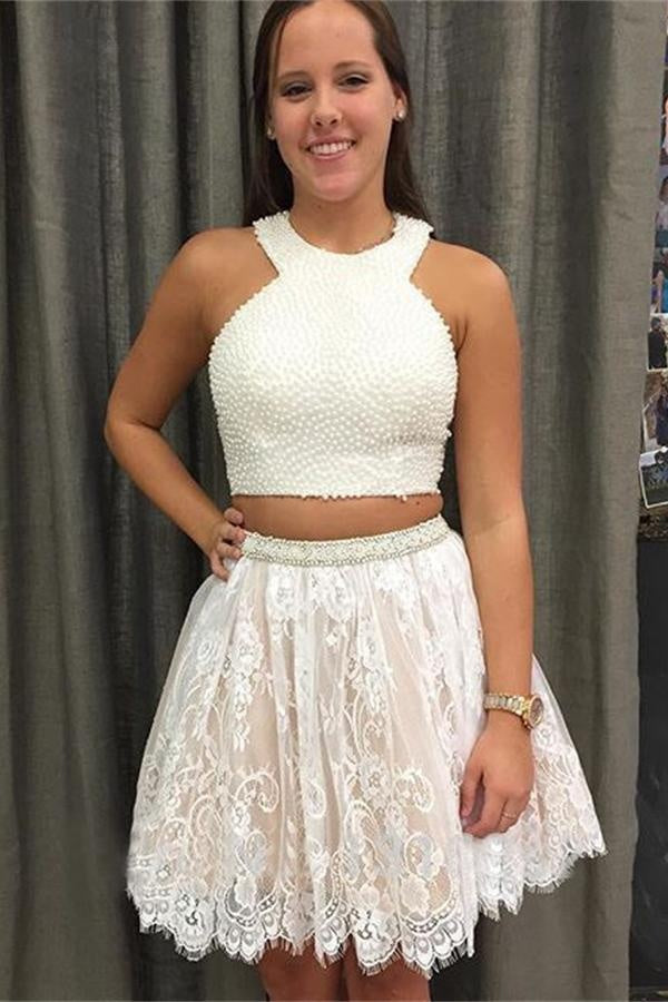 Pretty Two Pieces Lace Beaded Short A-line Cute Cheap Homecoming Dresses Z0096