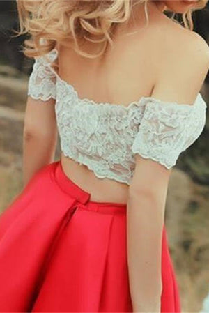 Tea Length 2 Pieces Off Shoulder Red Modest Vintage Lace Homecoming Dresses Z0098