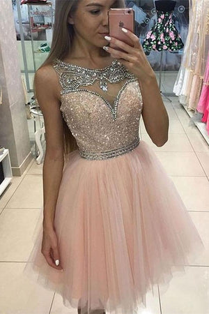 Girly Pink Beading Short Tulle Homecoming Dresses For Teens,Cute Dresses Z0101
