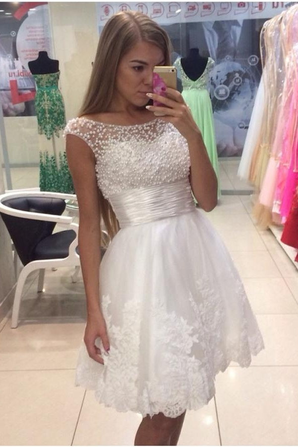 White Lace Beaded Short A-line Elegant Homecoming Dresses,Party Dresses Z0102