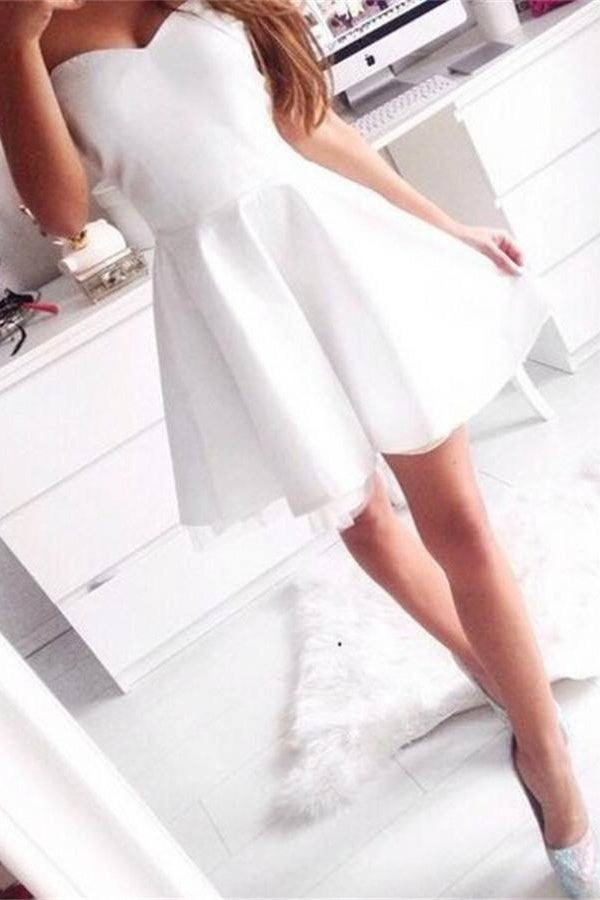 White Simple Short A-line Sweetheart Cheap Homecoming Dresses Z0103 - Bohogown