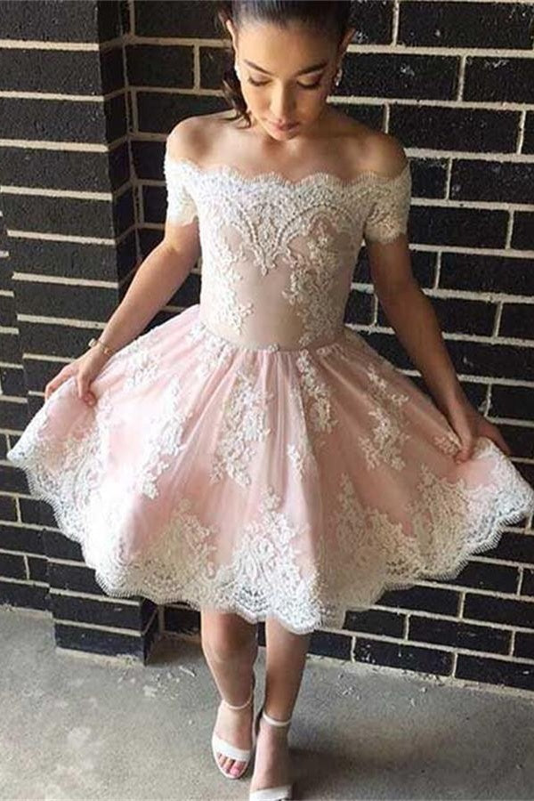 Off The Shoulder Shoulder Short Lace Simple Cheap Homecoming Dresses Z0104