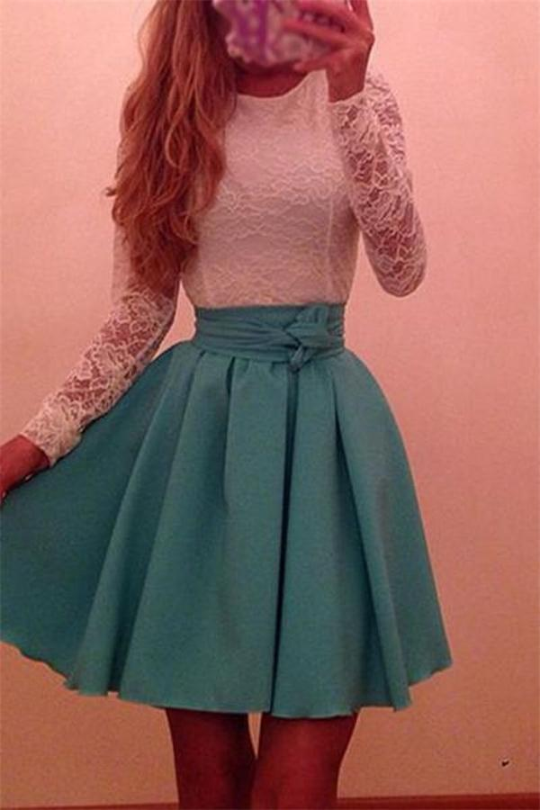 White And Green Short Long Sleeves Lace Cheap Homecoming Dresses Z0105 - Bohogown