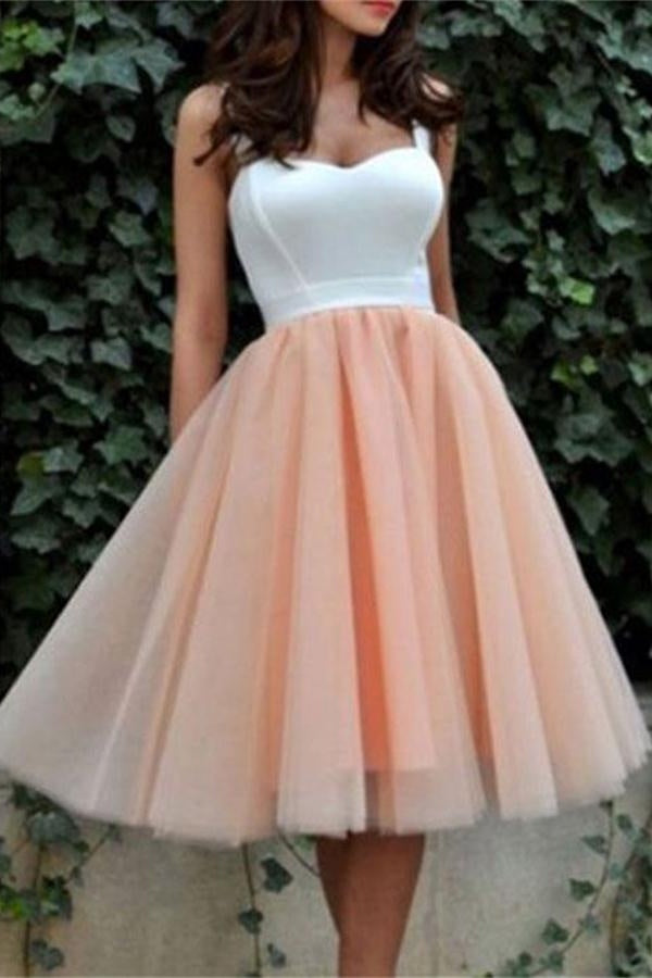Spaghetti Straps A-line Vintage Blush Homecoming Dresses,Simple Cheap Homecoming Dress  Z0106 - Bohogown
