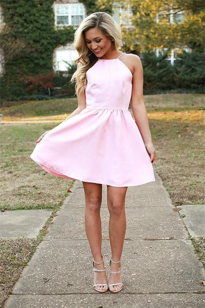 Simple Style Short A-line Pink Satin Homecoming Dresses,Cute Dresses Z0109