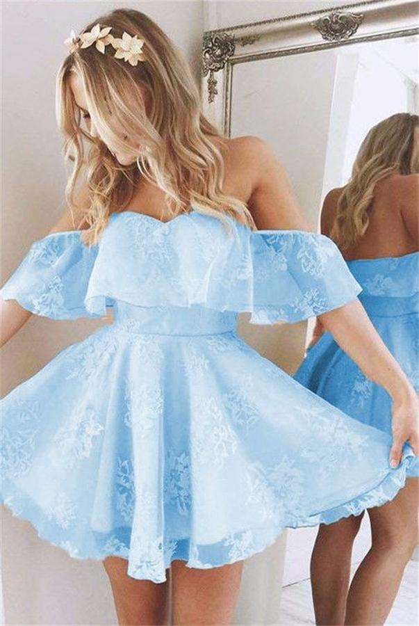 Light Blue Short Off The Shoulder Backless Lace Homecoming Dresses Z0110 - Bohogown