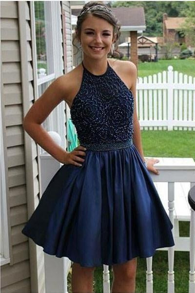 Navy Blue Short Beaded Satin Homecoming Dresses For Teens,Party Dresses Z0111