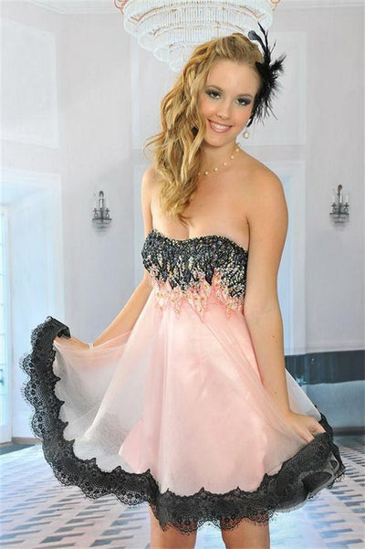 Pink And Black Sweetheart Short Beaded Cute Homecoming Dresses Z0112