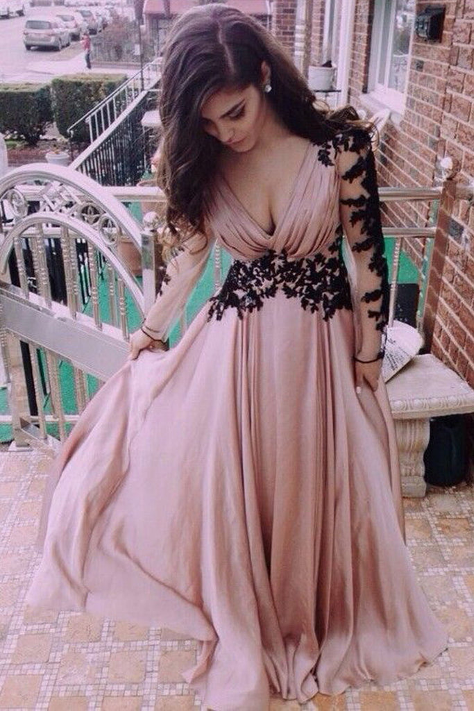 Elegant Pink Long Sleeves Chiffon Lace A-line Prom Dresses Z0113 - Bohogown