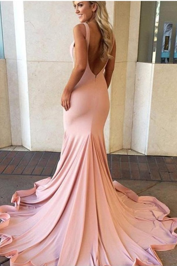 Pink Mermaid Long Backless Prom Dresses,Modest Cheap Prom Dress For Teens Z0126 - Bohogown