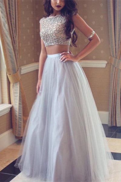 Charming Elegant Two Pieces Gray Long Beaded Prom Dresses For Girls Z0128