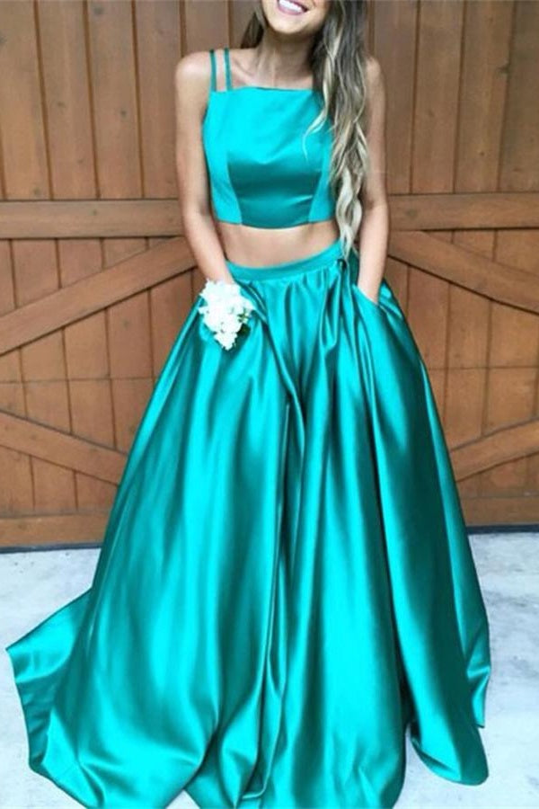 Two Pieces Green Long Simple Cheap Prom Dresses With Pockets Z0129