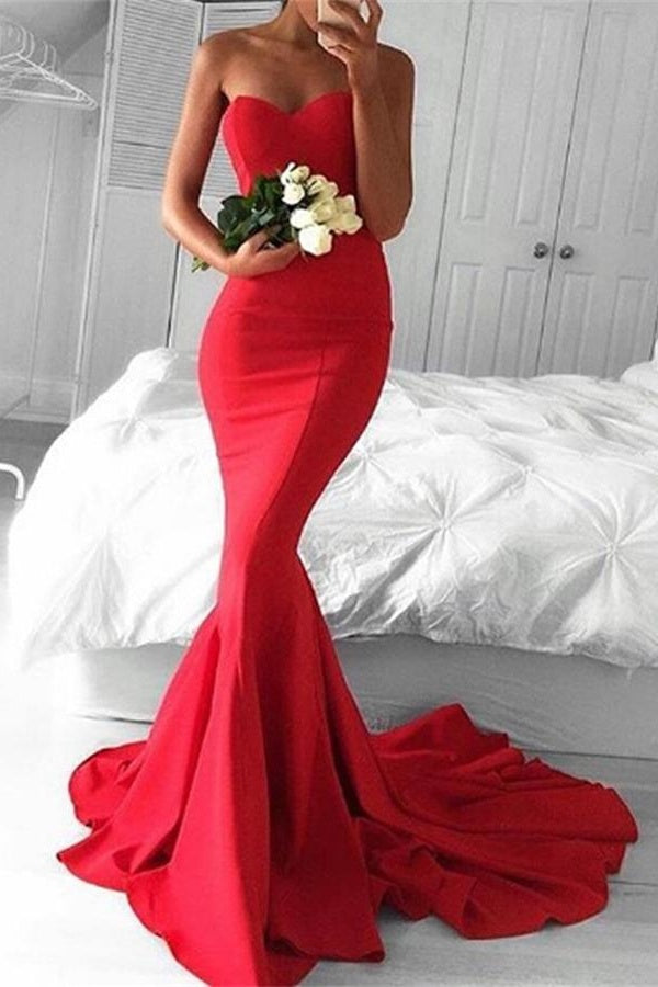 Sweetheart Long Mermaid Red Sweep Train Long Prom Dresses Z0130