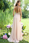 Elegant Princess Long Chiffon Beaded Backless Pink Prom Dresses Z0133